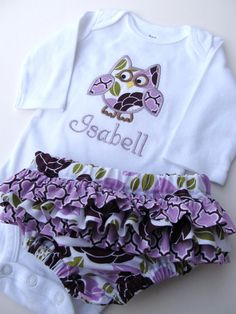 Personalized Owl Onesie and Diaper Cover Set by FunnyFarmCreations, $36.00