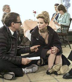 Jennifer Lawrence filming American Hustle