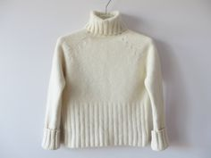 Vintage Ivory White Sweater Ivory Turtleneck Soft Winter Sweater Angora blend Pullover Holidays Jumper White Women Sweater Size Small by YourEclecticStreet on Etsy