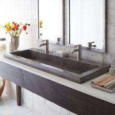 Sink for Bathroom? Trough 4819 NativeStone Trough Sink by Native Trails - contemporary - bathroom sinks - san luis obispo - Native Trails Trough Sink Bathroom, Drop In Bathroom Sinks, Large Bathrooms, Sink Faucets, Small Bathroom, Master Bathroom, Office Bathroom, Kitchen Sinks, Undermount Sink
