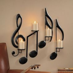 Candle sconces make unique wall decor! Browse our wall candle sconces, decorative wall sconces and candle wall decor. All yours with online credit! Living Room Decor, Bedroom Decor, Living Rooms, Apartment Living, Piano Room Decor, Diy Vintage, Music Notes, Home Decor Accessories, My Room