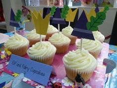 Children's party ideas DIY elf and fairy picks- Ben And Holly- By Tea At The Table. Cupcakes by Sarah's Serendipity Cupcakes