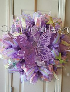 "Spring/Summer Butterfly Wreath, Butterfly Wreath, Purple Wreath, Purple Butterfly Wreath, Spring Wreath, Summer Wreath, Spring Door Decor. 24"" deco mesh butterfly wreath. Made with purple and pink deco mesh , ribbons and a large purple butterfly."