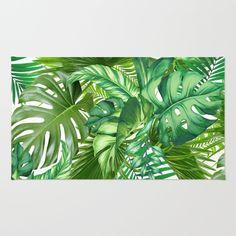 green tropic Rug by markashkenazi Plant Painting, Plant Drawing, Plant Art, Watercolor Plants, Watercolor Paintings, Deco Jungle, Green Carpet, Tropical Art, Leaf Prints