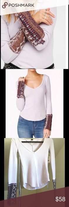Free People Art School Cuff Thermal NWT Brand new with tags, lavender thermal with Art School cuff. V neck. So cute & cozy, perfect for layering or transition weather  Free People Tops