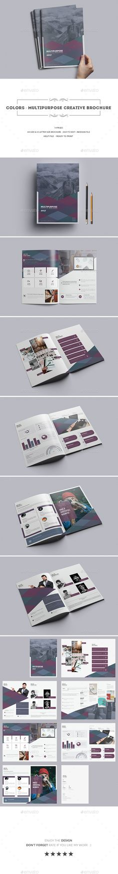 Colors Multipurpose Creative brochure — InDesign INDD #colorful #cmyk • Download ➝ https://graphicriver.net/item/colors-multipurpose-creative-brochure/19580196?ref=pxcr