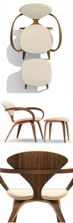 Cherner Lounge Armchair, Natural Walnut