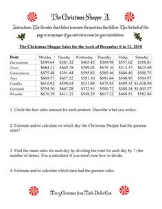 The The Christmas Shoppe (Numbers under $1000) (A) Math Worksheet from the Christmas Math Worksheets Page at Math-Drills.com. Christmas Math Worksheets, Math Drills, Word Problems, Numbers, Chart, Word Work