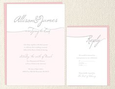 DIY Printable Script Wedding Pink Ombre Invite. $45.00, via Etsy.