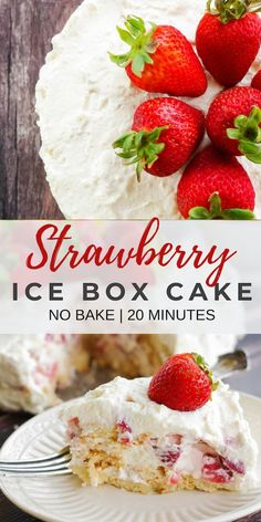 This no bake strawberry ice box cake is made with vanilla wafers and screams summer. This dessert is topped with sweet clouds of mascarpone flavored whipped cream and strawberries. Summer Desserts, No Bake Desserts, Easy Desserts, Delicious Desserts, Cold Desserts, Frozen Desserts, Icebox Cake Recipes, Cupcake Recipes, Cupcake Cakes
