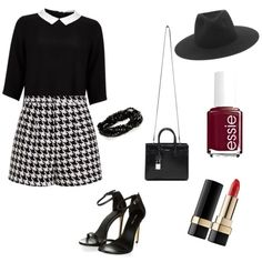 black and white by nika-mikano on Polyvore featuring polyvore fashion style Lipsy Emma Cook rag & bone Yves Saint Laurent Dolce&Gabbana Essie