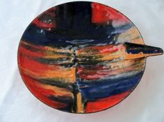 Midcentury Modern Abstract Enamel Dish Vallenti Italy Orange Blue