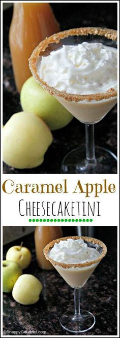 Caramel Apple Cheesecaketini Cocktail Recipe - easy fall dessert drink that combines caramel, apple, & cheesecake! SnappyGourmet.com