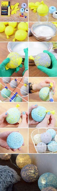 DIY tutorial cotton ball lights girlanda świetlna łańcuch świetlny blog