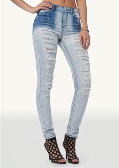 Destroyed Acid Wash High Waisted Skinny Jean | Skinny | rue21