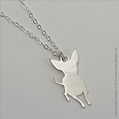 sweet tooth designs sterling silver small chihuahua necklace, style no. nSS10418