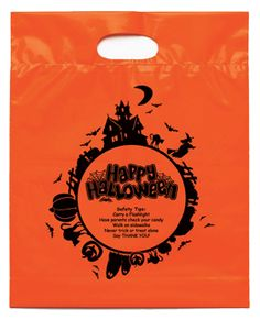 Fright Night Bag   2.5 mil. orange plastic bag with fold-over die cut handles and bottom gusset. Stock designs feature educational safety tips. Add your custom imprint to the opposite side of the bag.  www.logosurfing.com (800) 728-7192