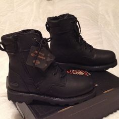 """Jenell Harley-Davidson Riding boots women 10 42EU Black Leather Performance Riding Boot Waterproof JANELL  Harley-Davidson 6.5"""" Tall  non-skid sole. Lace up front. YKK zipper side opening.  NIB Harley-Davidson by Wolverine Shoes Combat & Moto Boots"""