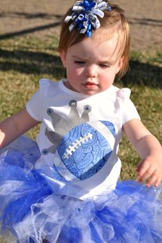 Team Spirit Boutique Style Tutu and Football Princess Tee - Blue, Silver/Grey and White - Newborn, Toddler, Youth Cute Kids, Cute Babies, Baby Kids, Royal Clothing, Baby Tutu, Everything Baby, Future Baby, Baby Love, Fashion Boutique