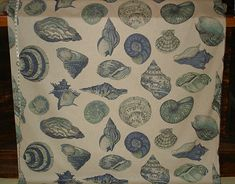 Curtains?  Seashell fabric nautilus blue sea green from Brick House Fabric: Novelty Fabric