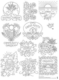 Urban Garden Embroidery Pattern - be great for coloring activities, too!