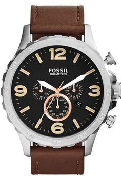 Fossil 'Nate IP' Chronograph Watch, 50mm, A notched bezel defines the round case of a matte-black chronograph watch paired with a smooth leather strap.