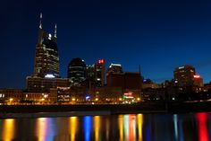 """Nashville, Tennessee skyline during the """"blue hour."""""""