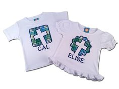 Brother Sister Sibling Religious Easter Shirt with Cross and Embroidered Name by SunbeamRoad on Etsy