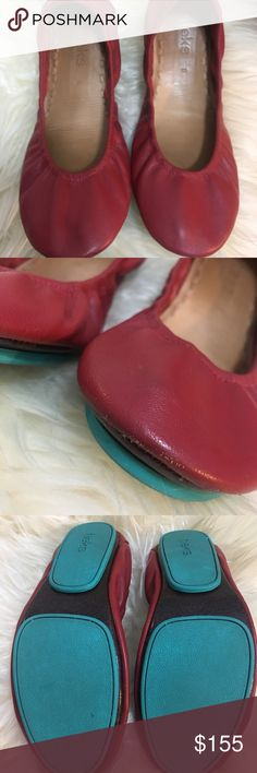 Cadinal red size 8 Very good used condition. Beautiful color. I just need to go up side.  I not have box or flower anymore  Please check all the pictures.  Some sign of wear.Small scuffs.  dark insole. But no odor.blue print still bright blue. Tieks Shoes Flats & Loafers