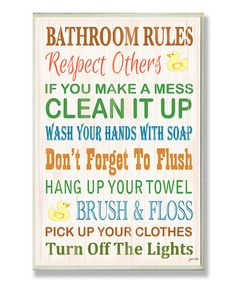 Another great find on #zulily! 'Bathroom Rules' Rubber Ducky Wall Plaque by Stupell Industries #zulilyfinds
