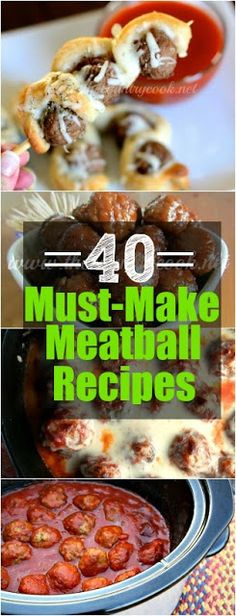 Must-Make Meatball Recipes 40 Must-Make Meatball Recipes from The Country Cook. Appetizers, Tailgating and whole meals inspired by Must-Make Meatball Recipes from The Country Cook. Appetizers, Tailgating and whole meals inspired by meatballs! Meatball Recipes, Meat Recipes, Slow Cooker Recipes, Appetizer Recipes, Crockpot Recipes, Cooking Recipes, Soup Appetizers, Hamburger Recipes, Recipies