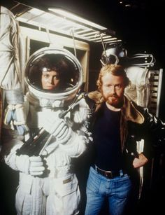 """Sigourney Weaver and Ridley Scott on the set of """"Alien"""" (1979)"""