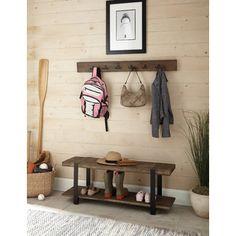 Loon Peak Fallon 2 Piece Metal/Wood Storage Entryway Bench Set
