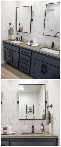 Come see what this bathroom looked like before! This double sink vanity was just a basic builder grade and now it has it's own custom modern look with marble looking hexagon tile, black pivot mirrors and charcoal blue cabinets! Bathroom Vanity Makeover, Bathroom Sink Vanity, Bathroom Renos, Bathroom Flooring, Cabinet Makeover, Bathroom Ideas, Bathroom Organization, Remodel Bathroom, Bathroom Storage