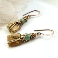 cool Wire Wrapped Handmade Earrings by ArtNSoulJewels...                                                                                                                                                                                 More