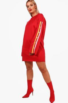 d7e95c1a6716 Plus Cesca Popper Sleeve Sweat Dress Sweat Dress