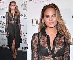 If anyone can pull off a completely sheer top, it's Chrissy Teigen. The stunning supermodel looked effortlessly chic while showing off her bra in a see-through black lace ensemble at a DuJour Magazine and NYY Steak event in New York City on July 28, 2014.