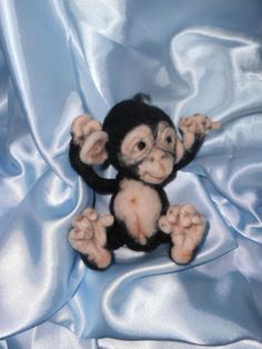 OOAK Needle Felted Baby Chimp Monkey Bear Doll by Patti M | eBay