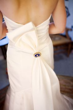 """lovin' the back detail on the dress.  even includes the """"something blue."""""""