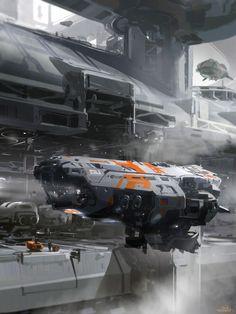 Concept spaceship art by SPARTH