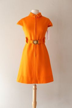 01901ce6a23 Vintage 1960s Super MOD Orange Mini Dress by Claret