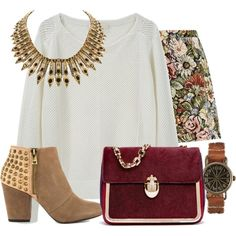 This outfit with skinny jeans instead of that skirt = PERFECTION   Featuring Casino - Coffee Comb Win Jessica Simpson