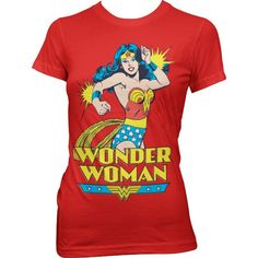 This ladies Wonder Woman T shirt is licensed by DC Comics and features the 1970s comic book version of Wonder Woman. DC Comics created Wonder Woman in 1941 as a counter to the male dominated DC roster.  Her depiction as a heroine fighting for justice and to reduce male domination over the world, Wonder Woman is widely considered a feminist icon. Red tee with retro comic book print.