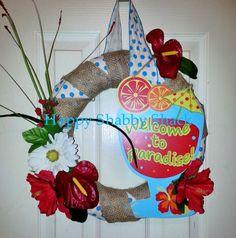 Welcome to Paradise wreath, Summer wreath, Summer door hanger, Tropical cottage wreath, Beach Wreath, Island Door hanger