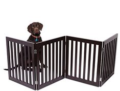 Internet's Best Traditional Pet Gate - 4 Panel - 24 Inch Step Over Fence - Free Standing Folding Z Shape Indoor Doorway Hall Stairs Dog Puppy Gate - Fully Assembled - Espresso - MDF Puppy Gates, Pet Gate, Pet Door, Door Gate, Us Images, Little Dogs, Pet Accessories, Your Pet, Dogs And Puppies