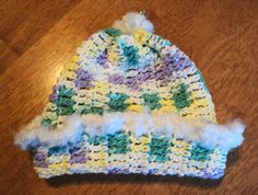 Children's hat crochet cotton white lilac & by LindaHansonDesigns