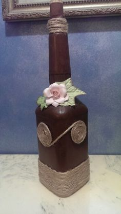 Decorated bottle with brown  chalk paint, waxed  and a little different Jute technique.  Gotta try it all!