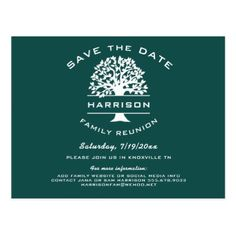 Dark Blue Green Family Tree Reunion Save the Date Postcard - modern gifts cyo gift ideas personalize