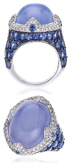 Cabochon Blue Chalcedony, Sapphire, Diamond and 18K White Gold Ring by Asprey