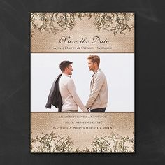 Love is sweet - especially on this rustic style save the date. Burlap and baby's breath, along with your photo are the perfect accents to your wording. #SaveTheDate